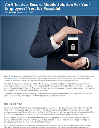 An Effective, Secure Mobile Solution For Your Employees? Yes, It's Possible!
